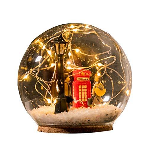 FeMereina Micro Landscape Jar Lights, Wunderschönes LED-Stimmungslicht, Warme gelbe Lichterketten Deckel, gehobene Geschenk für Liebhaber, Weihnachten Elch, Valentinstag (Liebhaber, Ball)