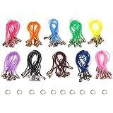 SODIAL(R) 100 Correas Cuerdas Multicolores para Telefono Movil con 7mm Anillo --- Negro / Blanco / Rosa / Purpura Oscuro / Purpura Claro / Azul / Verde / Rojo / Naranja / Marron
