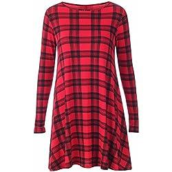 Vestidos de Navidad de las mujeres Vestido de rasguño de la impresión de la tela escocesa mini vestidos rojos 2XL