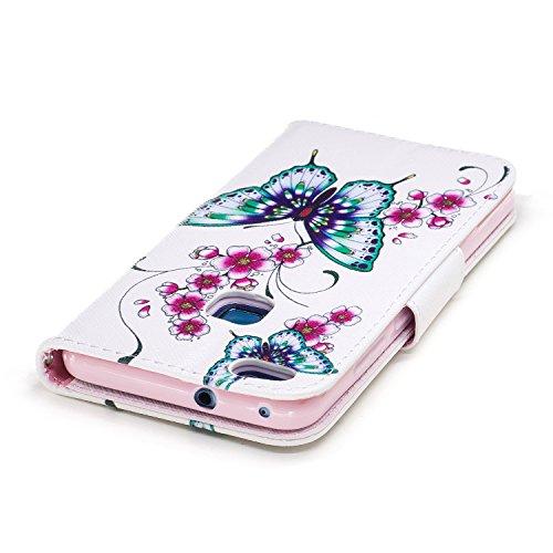 Huawei P10 Lite (5.2 pouce) Coque , PU Cuir Étui Protection Wallet Housse la Haute Qualité Pochette Anti-rayures Couverture Bumper Magnétique Antichoc Case Anfire Cover pour Huawei WAS-LX1/LX1A - Pand Deux Papillon