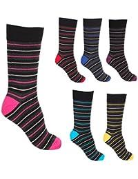 Pierre Calvini Lot de 6 paires de chaussettes à rayures en coton Homme