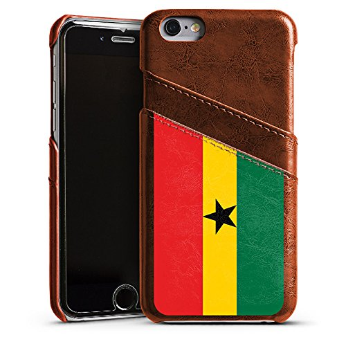 Apple iPhone 5s Housse Étui Protection Coque Ghana Drapeau Ballon de football Étui en cuir marron