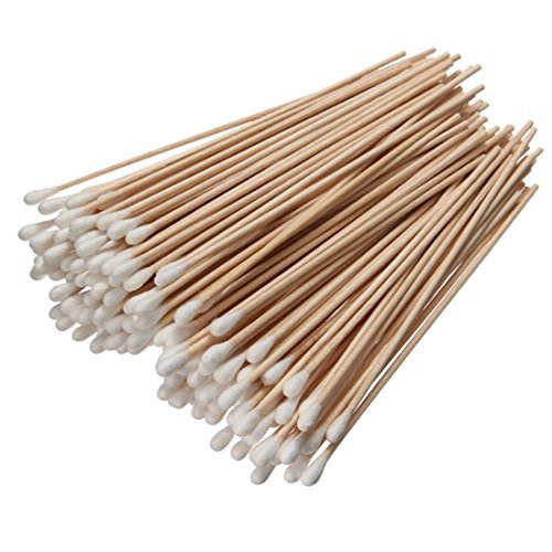 Ungfu Mall 200Pcs Long Wood Handle Cotton Swab Applicator