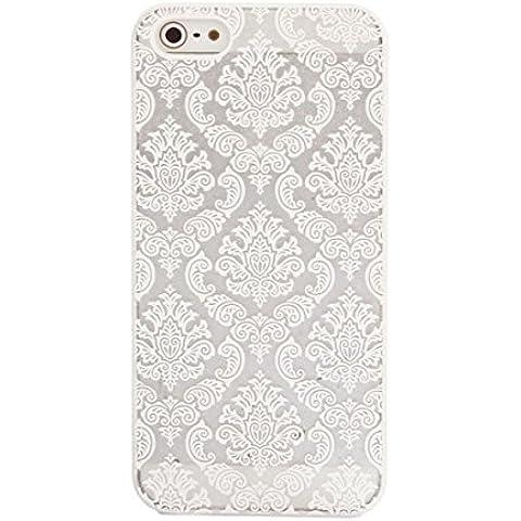 Tongshi Para el iPhone 5 5s Tallado del damasco de la vendimia Mate cubierta del estuche rígido