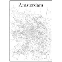 Amsterdam Poster — Stadtplan , Stadtkarte , Plakat , Kunstdruck , Staßennetz und Wandposter ( in 60 cm x 84 cm) von Amsterdam , Nierderlande , Holland , modern , zeitlos , stilvoll , Dekoration für Wohnung oder Büro
