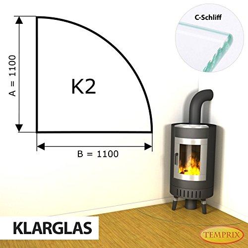Kaminbodenplatte Funkenschutz ESG Glas Klarglas verschiedene Formen Kamin K2 - 1.100 x 1.100 x 6 mm (Klarglas)