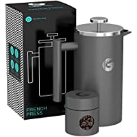 Large Stainless Steel Cafetiere Coffee Maker - Vacuum Insulated French Press - With Mini Storage Canister - By Coffee Gator - 1 litre, Grey