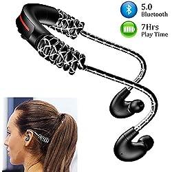 Ecouteur Bluetooth Sport 5.0 Oreillettes Bluetooth Sans Fil avec Microphone, Stéréo HD,Longueur Ajustable,Temps de Travail: 7 Heures, pour Course Jogging / IPhone Android Téléphone Portable