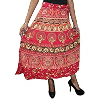 Mogul Interior Bohemian Indian Wrap Around Skirt Red Ethnic Printed Cotton Wrap Dress