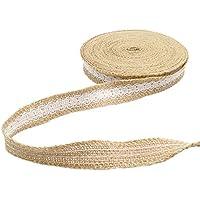 Borde de yute de arpillera cinta, 10metros Natural Flecos cinta con encaje para boda Craft diseño de Vintage/rústico–2,5cm