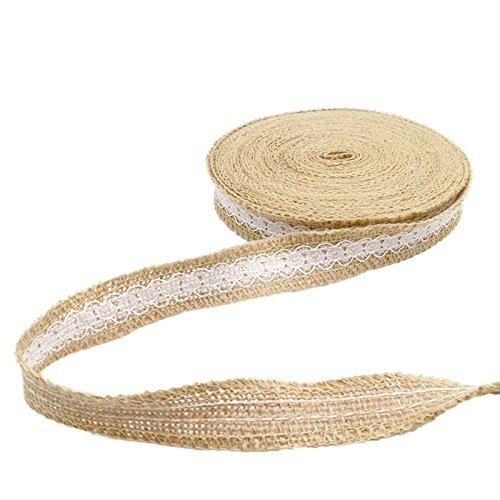 Cinta de yute, 10 metros de cinta de flecos natural con encaje para manualidades de boda con temática vintage o rústica, 2,5 cm