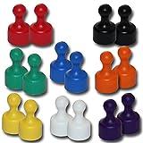 16 Neodym Kegelmagnete Ø 12 x 20 mm Pinnwandmagnete - farbig sortiert
