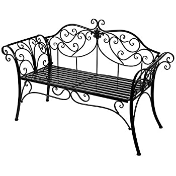 HLC Metal antique garden bench Outdoor Doubel Seat with Decorative ...