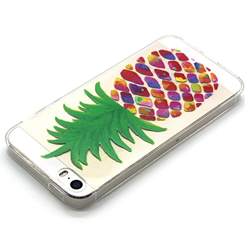 SainCat Coque Housse Apple iPhone 5,Transparent Coque Silicone Etui Housse,iPhone SE / 5S / 5 Silicone Case Soft Gel Cover Anti-Scratch Transparent Case TPU Cover,Fonction Support Protection Complète  ananas
