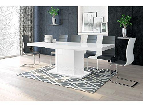 H MEUBLE Table A Manger Design Extensible 160÷260 CM X P : 89 CM X H: 75 CM – Blanc