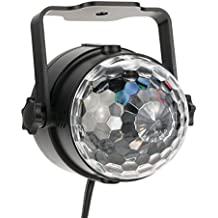 Lixada LED Luces Escena Auto Sonido Activo Mini Cristal Mágico Efecto de Bola Giratoria para KTV Xmas Fiesta Boda Espectáculo Bar Discoteca DJ