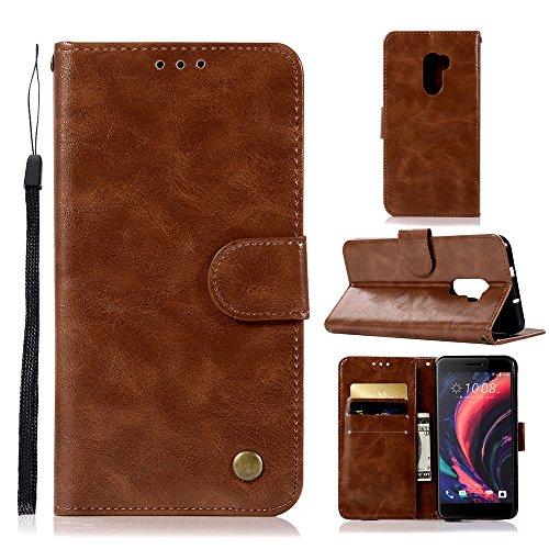 kelman Hülle für HTC One X10 Hülle Schutzhülle PU Leder + Soft Silikon TPU Innere Schale Brieftasche Flip Handyhülle - [JX03/Braun]