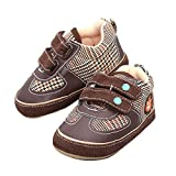 Auntwhale Baby Gummischuhe PU Leder Prewalkers Säuglinge Newborn Flats Sneaker 12,5# Kaffee