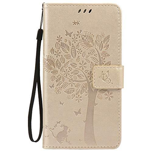 ISAKEN Compatibile con Samsung Galaxy Note 3 Custodia, Libro Flip Cover Portafoglio Wallet Case Albero Design in Pelle PU Protezione Caso con Supporto di Stand/Carte Slot/Chiusura - Gold