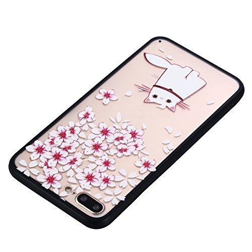 iPhone 7 Plus Coque, Voguecase TPU avec Absorption de Choc, Etui Silicone Souple Transparent, Légère / Ajustement Parfait Coque Shell Housse Cover pour Apple iPhone 7 Plus 5.5 (Papillons aiment fleurs Chat blanc 10