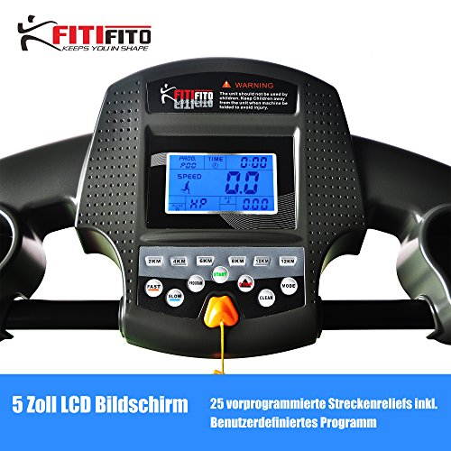 Fitifito 510A Laufband 3PS 12km/h mit LCD Bildschirm - Klappbar, Schwarz Abbildung 3