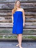S&LT Saunakilt Damen Bestickt mit Name, Saunatuch mit Elasthan und Klettverschluss - one Size Saunatuch für Damen (Kobaltblau)