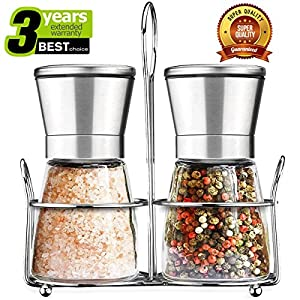 Salt and Pepper Grinder Set with Matching Stand, Amison Stainless Steel Adjustable Coarseness Salt and Pepper Mills Set of 2- Silver by Amison