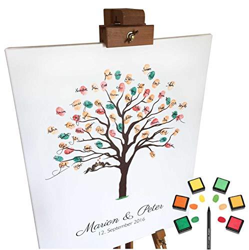 KATINGA Personalisierte Leinwand zur Hochzeit - Motiv HERBSTBAUM - als Gästebuch für Fingerabdrücke (40x50cm, inkl. Stift + Stempelkissen)