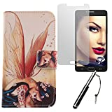 Lankashi Wing Girl 3in1 Set PU Flip Leder Tasche Für Alcatel One Touch Pop 4S 5.5