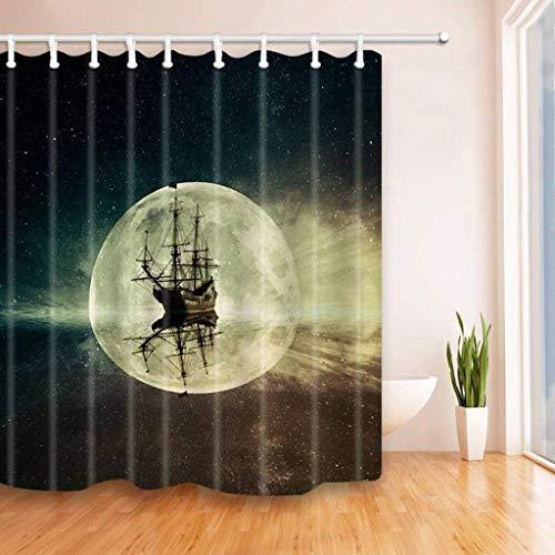HUIJU Einfache und StilvolDrucken stereoskopischen 3D-Moon Boot Badezimmer Duschvorhang Wasserdicht und Anti-schimmel Polyester Duschvorhang (Größe: 180 * 180 cm).