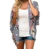 YWLINK Damen Mode Chiffon Kimono Lose Halbe HüLse Schal Blumenmuster Oversize Strickjacke(L,Grau)