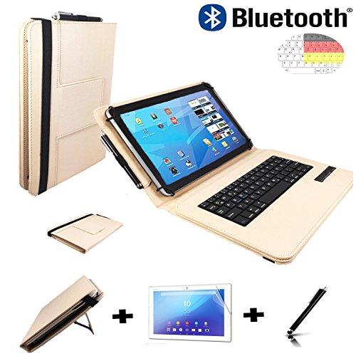 3er Starter Set für Amazon Fire HD 10 (2017) Bluetooth QWERTZ Tastatur Tasche + Stylus Pen + Schutzfolie - 10.1 Zoll Beige 3in1