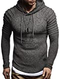 LEIF NELSON Herren Pullover Hoodie Kapuzenpullover Sweatjacke Longsleeve Sweatshirt Jacke Basic Rundhals Langarm Oversize Shirt Hoody Sweater LN8152; Größe XXL; Anthrazit