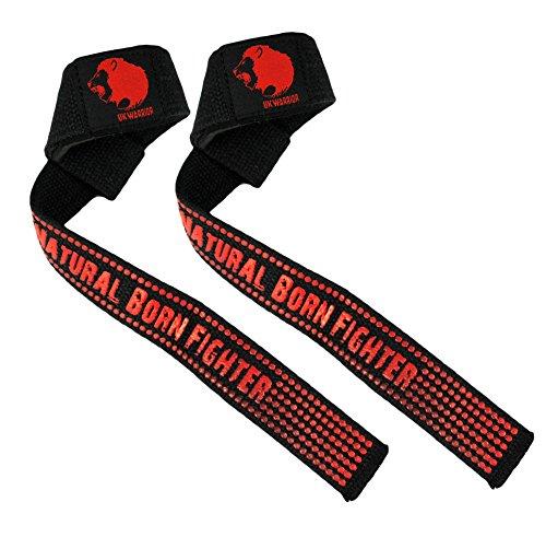 Warrior V2 Xtra Grip UK - Cinghie per barra da sollevamento pesi e body building Fasce da allenamento, impugnatura di supporto per polso in Silicone per esercizi
