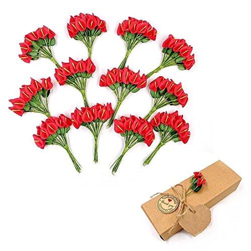 JZK® 144 espuma rojo calla lily lirios pequeña flores artificiales para la artesanía caja de favor caja de regalo decoración de adornos para el cumpleaños de la boda fiesta