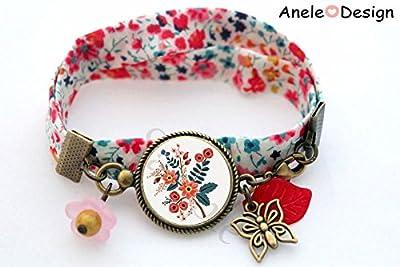 Bracelet liberty motif Folk Slave - fleurs oranges feuille rouge cabochon verre original motif folklorique papillon