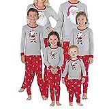 Hibote Pigiami di Natale per la Famiglia Bambini Ragazzi di Natale per Adulti Set di Pigiama Babbo Natale Maniche Lunghe Pigiama per Bambini Pigiameria Famiglia PJ Coordinati
