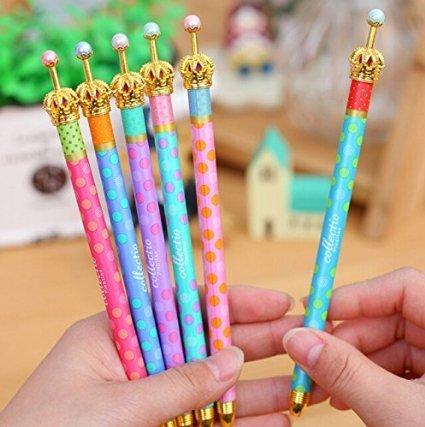 ANKKO 6 Stück Elegante Krone Tupfen-Entwurf Stifte Tinte Gelschreiber Kugelschreiber, Mischfarbe - Elegante Kronen