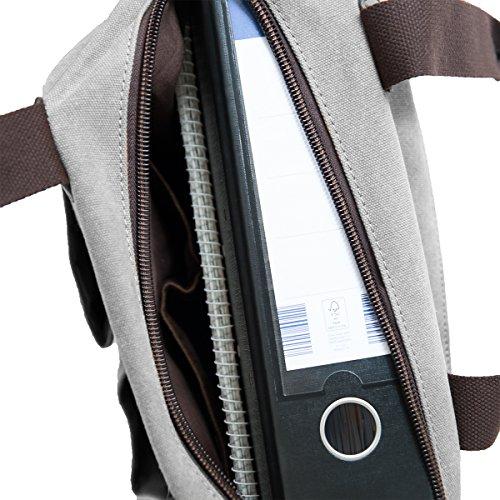 Donna, Borse a spalla , Collegebag, Borse a tracolla, Canvas, DIN A4 cartella /Laptop adatto, ( 37/33/16) mod. 2076 by fashion-formel grigio