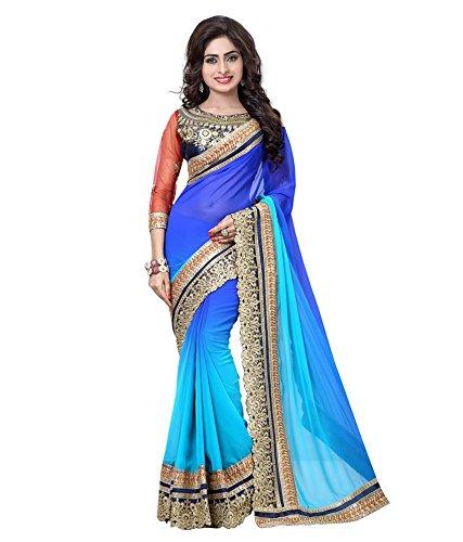 Saree, women, designer sarees, saree's for women, designer sarees collection, online saree shopping, saree georgette saree by MANSVI FASHION(2060_blue)
