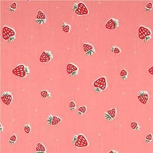 Tissu bio jersey Birch Everyday Party rose avec des fraises