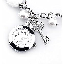 HeroNeo® Fashionable Girls Womens Quartz Charms Pearl Bracelet Wristwatch Chain Hot