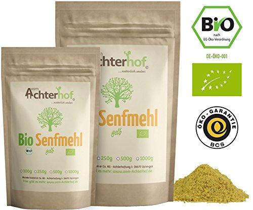 BIO Senfmehl (500g) Senfsaat gelb gemahlen , teilentölt zur Senfherstellung Senfpulver vom-Achterhof