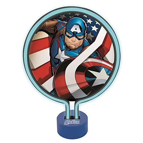Lexibook Lampe Néon Avengers Captain America, Veilleuse Chambre Enfants, Décoration Lumineuse Couleur Ados Marvel Super-héros, LTP100AV, Bleu
