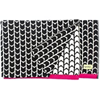 Buh!-Coperta in puro cotone lavorato a maglia, design B And W Fucsia Collection, 80 X 100 Cm)