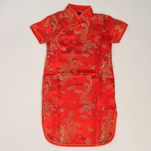 Shanghai Tone® Chinesisch Asiatisch Kinder Mädchen Satin Mandarin Kleid Cheongsam Chipao Qipao Hochzeit Party Cocktailkleid Rot Größe: 6M, 3T, 4, 6, 8, 10, 12 (Kleid Cheongsam Chinesische Satin)