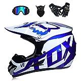 HWJF Motorrad-Offroad-Helm für Erwachsene MX-Motorradhelm ATV-Roller ATV-Helm D.O.T-Zertifizierung (4-Handschuh-Schutzbrillen) S, M, L, XL,M