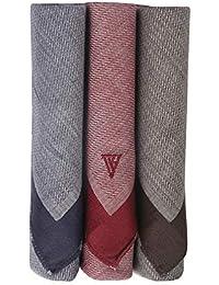 Van Heusen Men's Cotton Handkerchief (Blue, Maroon and Brown, 46 x 46 cm) -Pack of 3