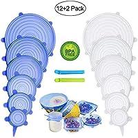 PHYLES Coperchio in Silicone Estensibile, 12 Pack - Senza BPA, Ridurre l'uso di Materie Plastiche e Proteggere l'ambiente