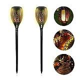 EleLight 2 Pack Solar Taschenlampe, 96 LEDs Wasserdichte Flickering Flames Landschaft Rasen Lampen mit Dancing Flames f¨¹r Outdoor Garten Patio Hof Pathway Pool Decor